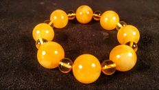 Baltic Amber bracelet, egg yolk and lemon colour, No reserve,  38 grams