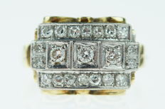 14 kt gold Art Deco Tank ring set with diamonds in white gold setting, size: 18.25