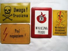 Enamel, metal and bakelite- - warning signs.