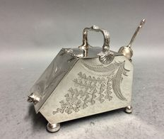 Silver plated sugar pot with scoop in the shape of a coal-scuttle, England, ca. 1900