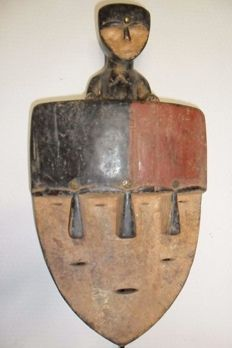 African mask with 3 faces - VUVI - Gabon