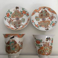 Large cups and saucers made of eggshell porcelain, Arita – Japan – ca. 1920