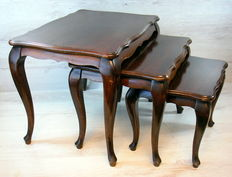 Set of three solid mahogany side tables, 2nd half of 20th century, origin, The Netherlands