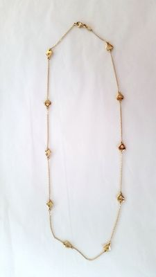18 kt gold necklace with little hearts - Length: 43 cm