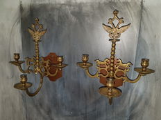 Rare set French candle holders with cranes and horses