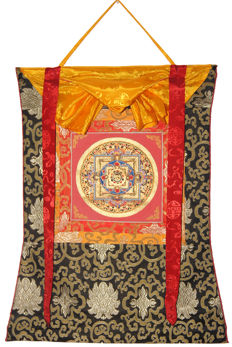 Mandala Painting with Brocade Frame - Nepal - second half 20th Century