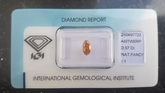 Oval cut diamond, 0.57 ct, natural, fancy, deep yellowish orange, I1
