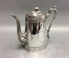 Victorian silver plated coffeepot with silver plated handle, James Dixon & Sons, Sheffield, England, ca 1890