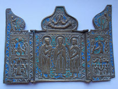 Russian - Travel Icon in metal and enamel. Half 'nineteenth century