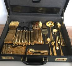 SBS solingen - 23/24 carat gold plated, 18/10 an extensive 12 double stainless steel complete Victorian cutlery in luxury leather case with combination lock - 68 piece
