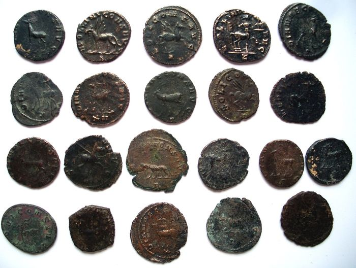 Empire romain - Collection de 21 Antoniniens en Billon de Gallienus - 267-268 AD - Revers Animaliers