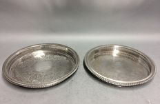 Two silver plated round serving trays, U.S.A, ca 1960