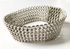 Massive chainmail bracelet out of silver