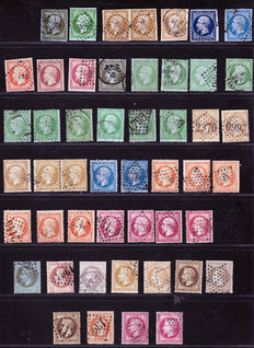 France 1866/1873 – Colour study, a variety of cancellations on French Empire classics – Yvert no. 11 to 32