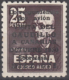Spain 1951 – Visit  of the Caudillo to the Canary Islands with control number on the reverse side and Corwin certificate – Edifil No. 1090