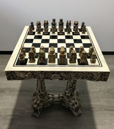 Chess tables - Laos. Polychrome stone. Second half of the 20th century