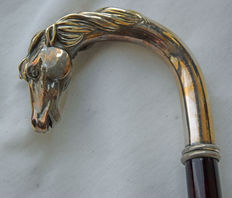 1800 style, Silver walking stick with horse head. Italy, 1980.