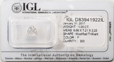 Individual IGL-certified trillion cut diamond of 1.03ct - colour: F / clarity: SI3 **no reserve price**