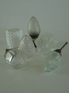 Art Deco glass lamps, various designs.