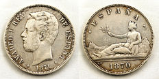 Spain - 19th century – 5 pesetas silver coins – 1870 and 1871 – Madrid