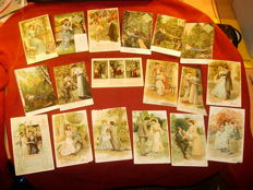 lot of 33 ancient postcards - romance - 1903 - 1908