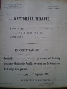 Militaria; Lot with 4 registers on Nationale Militie & 2 Extracts from the Stamboek der Heeren officieren from resp. Algemeen Depôt der Landmagt and Koloniaal Werf Depôt - 1825/1896