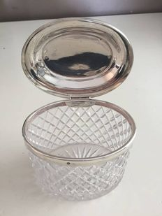 Diamond cut Crystal tea-caddy with silver lid