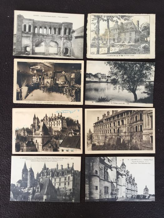 Lot of about 1000 postcards, castles and monuments and various France - early 20th century to the 1960s