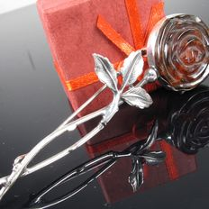 Large old rose amber brooch, sterling silver, handmade, 96 mm x 28 mm