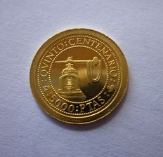Spain – Juan Carlos I – Fifth centenary of the discovery of America, 5000 pesetas gold coin – 1992 – Madrid, minting press, rare coin