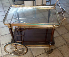 Brocante, copper serving trolley with mahogany top and bottle holder