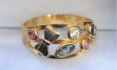 18K ring with precious stones -  size 17