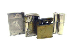 Collection of chromed metal lighters - early 20th century