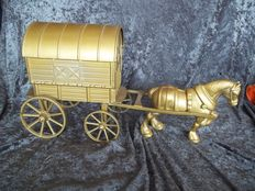 Very nice large metal horse with covered wagon