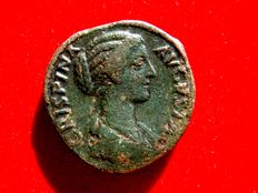 Roman Empire - Crispina (Commodus wife, 178-183 A.D.), bronze sestertius ( 22,43 g. 29 mm) from Rome mint, 178-182 A.D. PVDICITIA