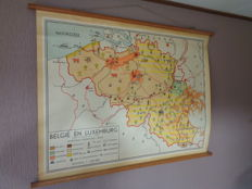 Two beautiful school maps/school posters of Belgium and Luxembourg, by Baker and Rusch and Van Goor