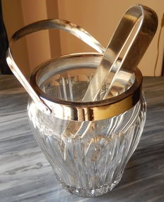 antique italian  silver 800 and hand-cut crystal ice bucket - and silver ice tongs very good condition 1940/50