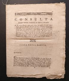 Ferdinand IV Kingdom of Naples – Document of the Council of S. Chiara – 1778