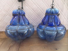 Two Venetian hanging lamps - blue glass execution - Italy - 2nd half of 20th century