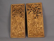 Two wooden panels with Ramayana images – Bali – Indonesia