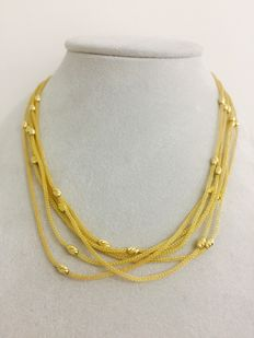 Yellow gold necklace with 6 strands, filigree work – 18 kt gold – 12.9 g – length 45 cm