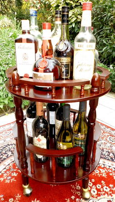 Old British mobile cherry wood real wood mini bar / trolley with two platforms, turnery