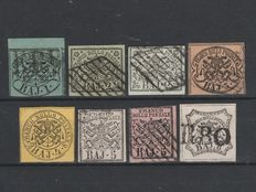 """Italy, Papal State, 1852—small selection (""""Sassone"""" No.  2B, 3, 3A, 4, 5A, 6, 6A, 9)"""