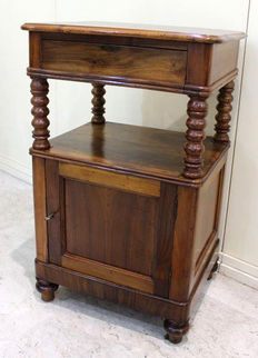 Walnut bedside table, France, Louis Philippe style, 19th century