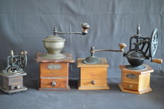 Four hand coffee grinders - around 1950, and younger - Germany.