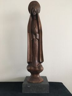 Wooden statue Mary with Aura - presumably Africa - ca. 1930
