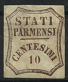 Parma, Provisional Government 1859, dark brown 10 Cents.