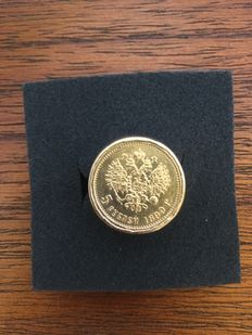 Russian gold coin mounted on a solid gold ring.