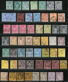 France, 1876/1900= Type 'Sage, N under U'- Yvert numbers 74-105.