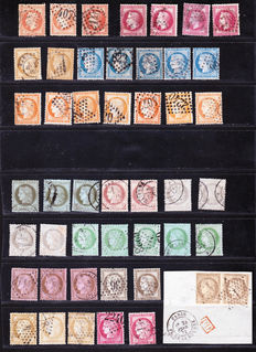 France, 1870/1873- study in colour and classic variety of cancellations- Yvert numbers 31-58, varied cachets with a fragment of a PD cachet.